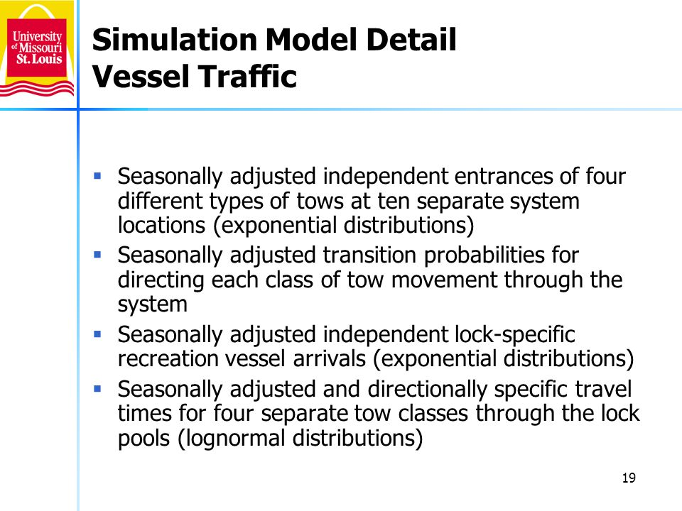 19 Simulation Model Detail Vessel Traffic Seasonally adjusted independent entrances of four different types of tows at ten separate system locations (exponential distributions) Seasonally adjusted transition probabilities for directing each class of tow movement through the system Seasonally adjusted independent lock-specific recreation vessel arrivals (exponential distributions) Seasonally adjusted and directionally specific travel times for four separate tow classes through the lock pools (lognormal distributions)