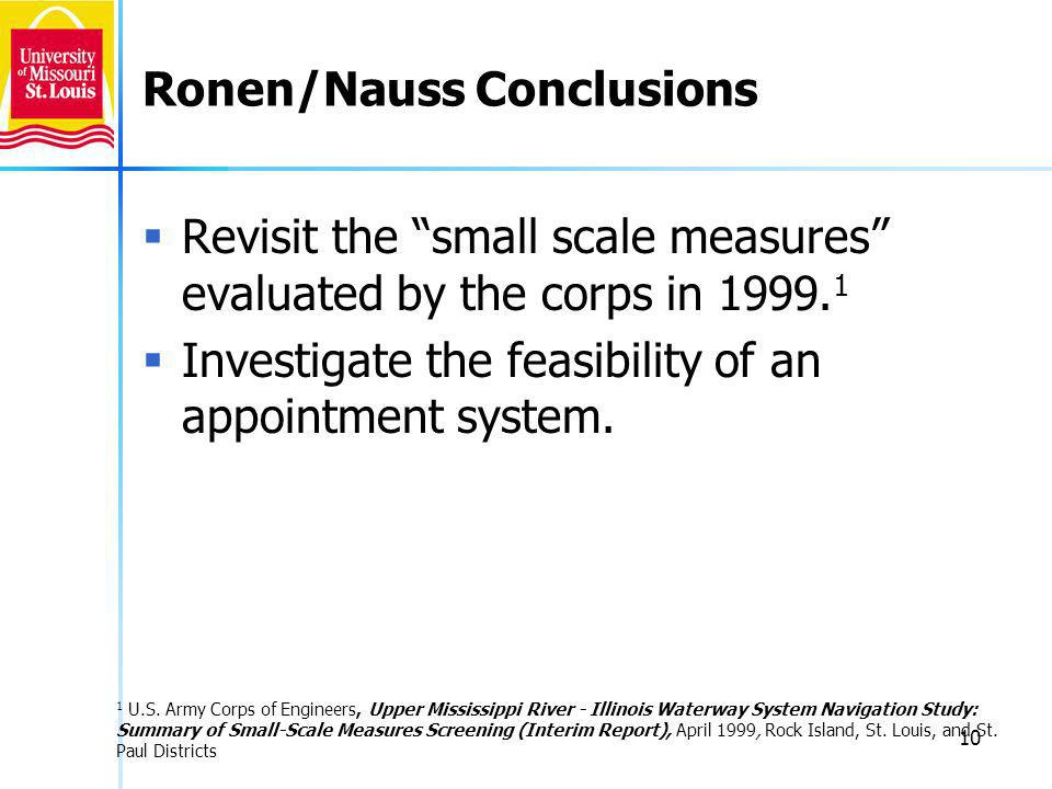 10 Ronen/Nauss Conclusions Revisit the small scale measures evaluated by the corps in 1999.