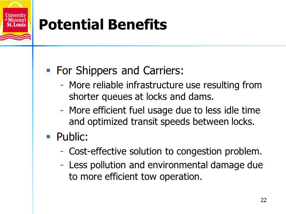 22 Potential Benefits For Shippers and Carriers: -More reliable infrastructure use resulting from shorter queues at locks and dams.