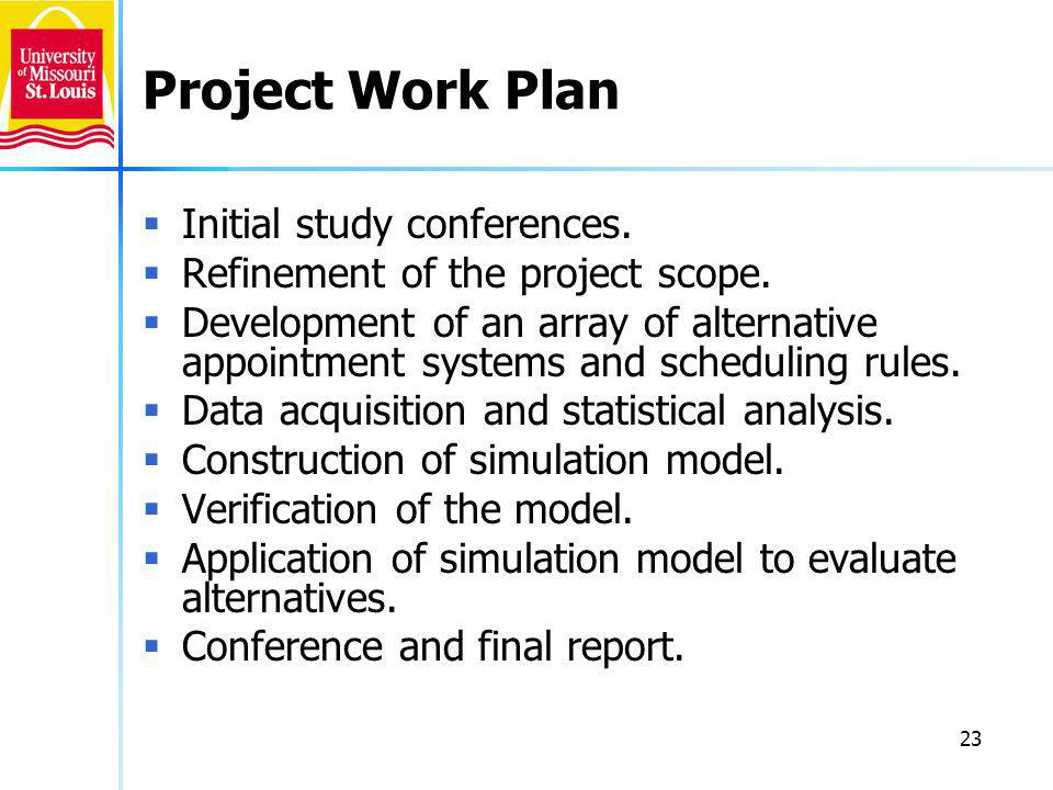 23 Project Work Plan Initial study conferences. Refinement of the project scope.