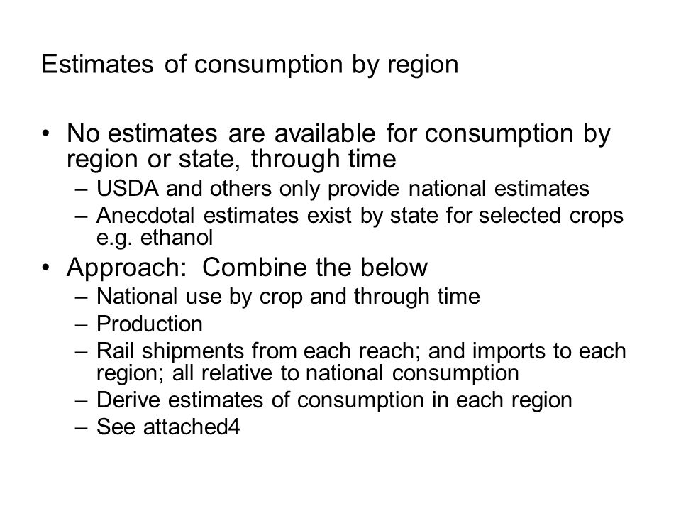 Estimates of consumption by region No estimates are available for consumption by region or state, through time –USDA and others only provide national estimates –Anecdotal estimates exist by state for selected crops e.g.