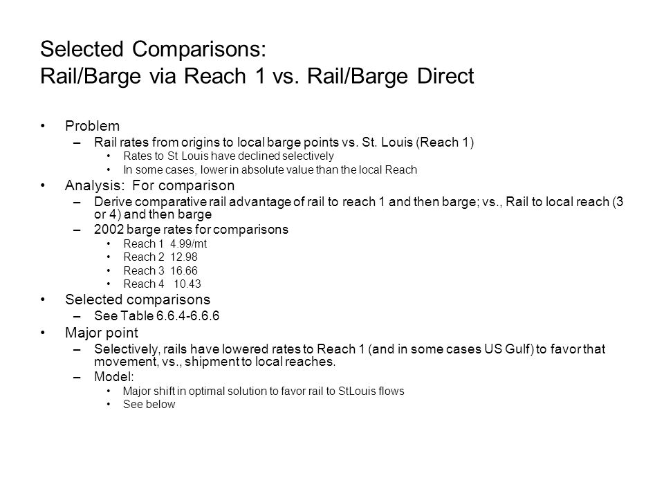 Selected Comparisons: Rail/Barge via Reach 1 vs.