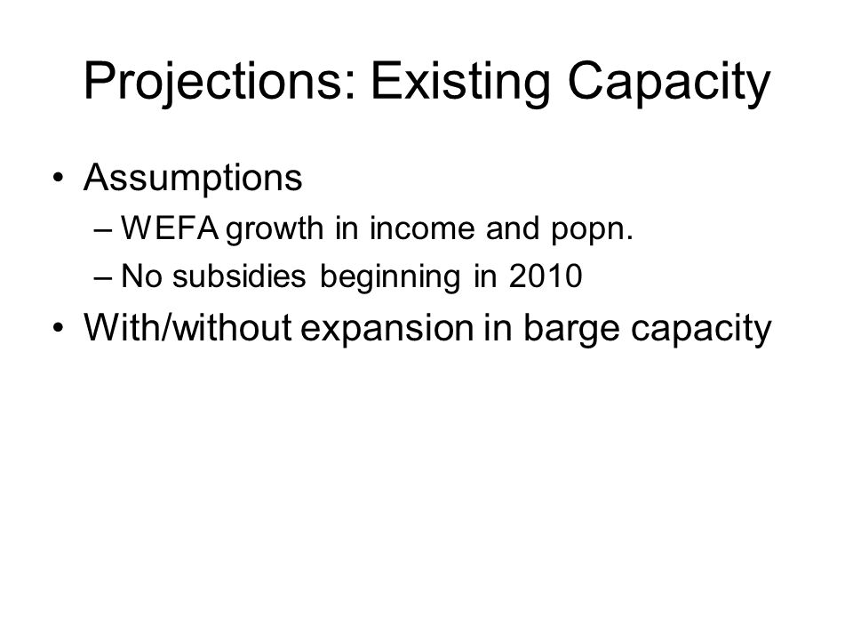 Projections: Existing Capacity Assumptions –WEFA growth in income and popn.