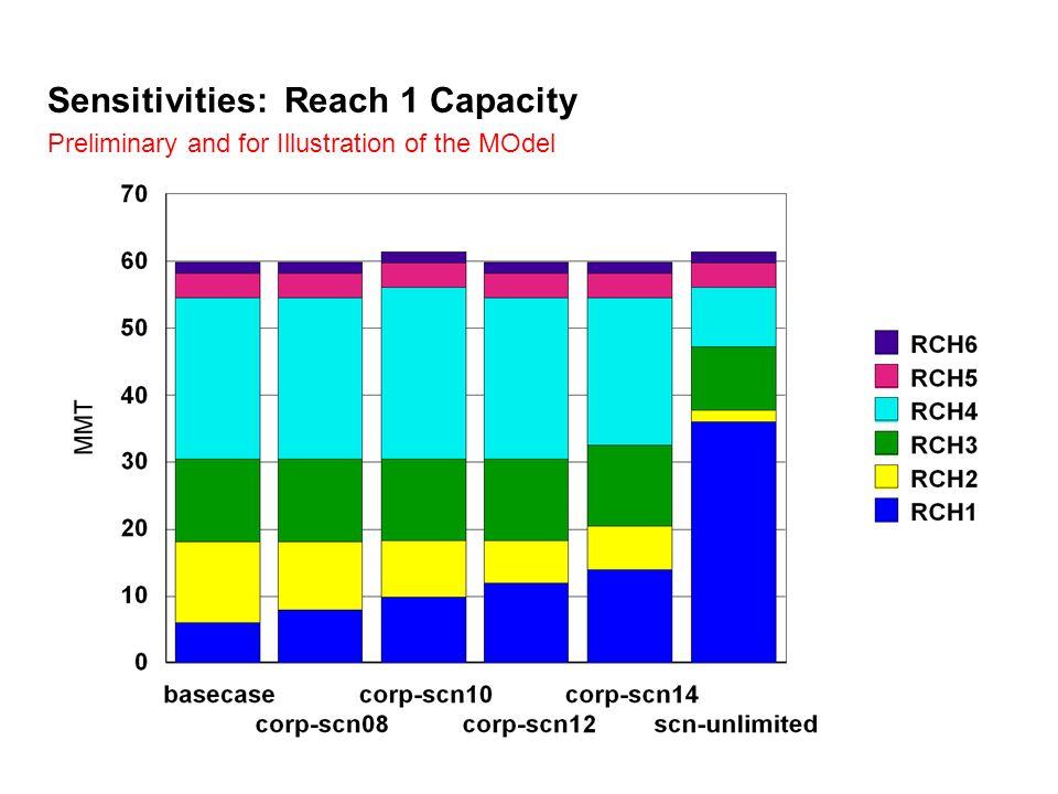 Sensitivities: Reach 1 Capacity Preliminary and for Illustration of the MOdel