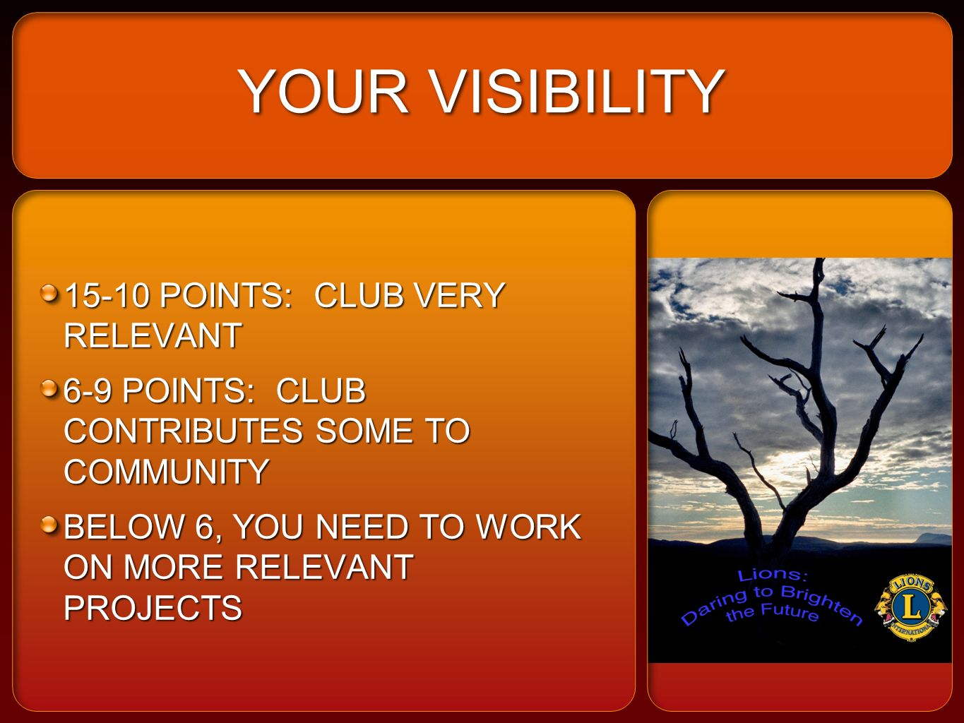YOUR VISIBILITY 15-10 POINTS: CLUB VERY RELEVANT 6-9 POINTS: CLUB CONTRIBUTES SOME TO COMMUNITY BELOW 6, YOU NEED TO WORK ON MORE RELEVANT PROJECTS 15-10 POINTS: CLUB VERY RELEVANT 6-9 POINTS: CLUB CONTRIBUTES SOME TO COMMUNITY BELOW 6, YOU NEED TO WORK ON MORE RELEVANT PROJECTS