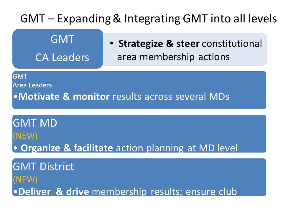 GMT Area Leaders Motivate & monitor results across several MDs GMT MD (NEW) Organize & facilitate action planning at MD level GMT District (NEW) Deliv
