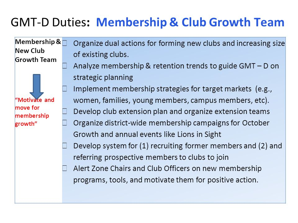 GMT-D Duties: Membership & Club Growth Team Membership & New Club Growth Team Motivate and move for membership growth Organize dual actions for forming new clubs and increasing size of existing clubs.