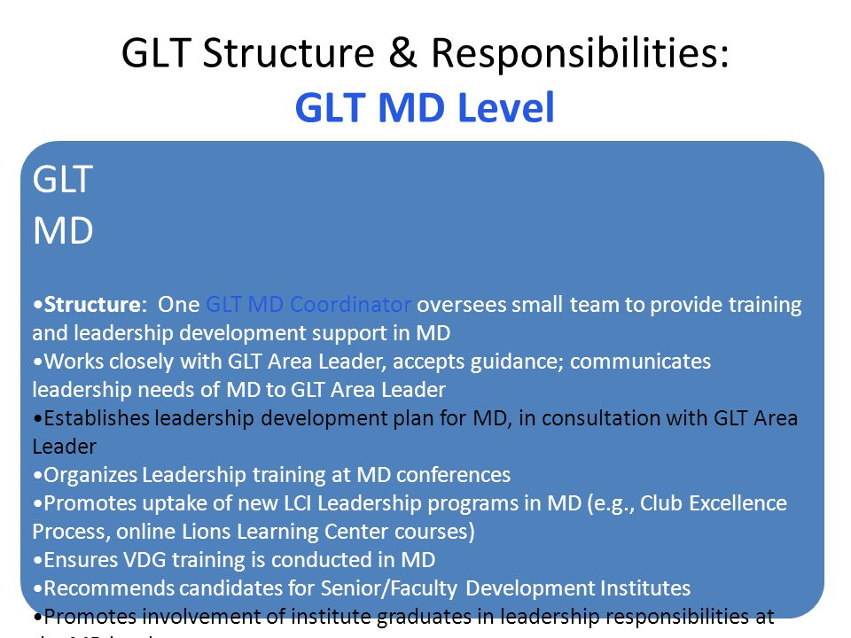 GLT Structure & Responsibilities: GLT MD Level GLT MD Structure: One GLT MD Coordinator oversees small team to provide training and leadership develop