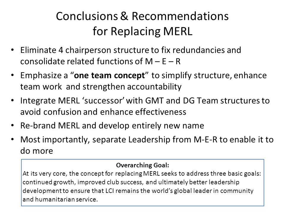 Conclusions & Recommendations for Replacing MERL Eliminate 4 chairperson structure to fix redundancies and consolidate related functions of M – E – R Emphasize a one team concept to simplify structure, enhance team work and strengthen accountability Integrate MERL successor with GMT and DG Team structures to avoid confusion and enhance effectiveness Re-brand MERL and develop entirely new name Most importantly, separate Leadership from M-E-R to enable it to do more Overarching Goal: At its very core, the concept for replacing MERL seeks to address three basic goals: continued growth, improved club success, and ultimately better leadership development to ensure that LCI remains the worlds global leader in community and humanitarian service.