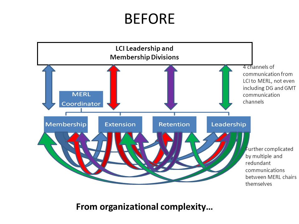 BEFORE LCI Leadership and Membership Divisions From organizational complexity… 4 channels of communication from LCI to MERL, not even including DG and