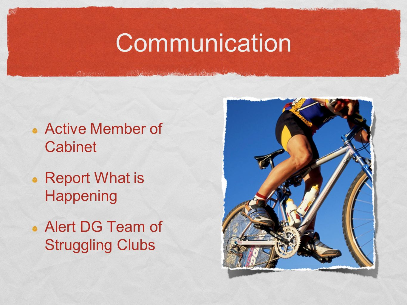 Communication Active Member of Cabinet Report What is Happening Alert DG Team of Struggling Clubs