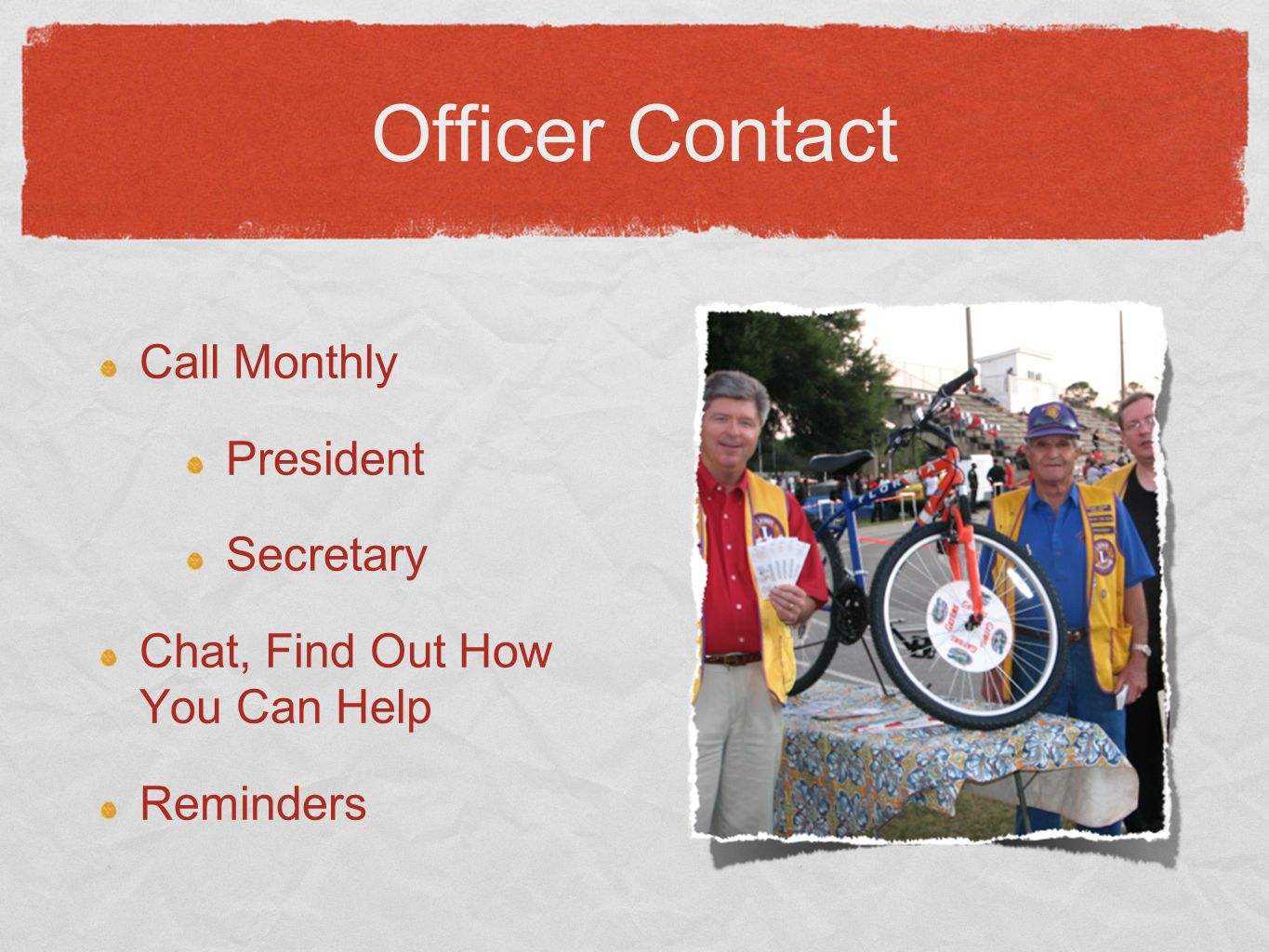 Officer Contact Call Monthly President Secretary Chat, Find Out How You Can Help Reminders