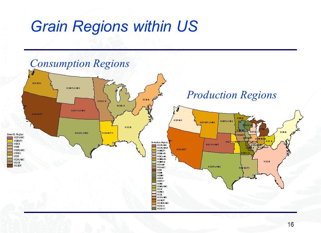 16 Grain Regions within US Consumption Regions Production Regions