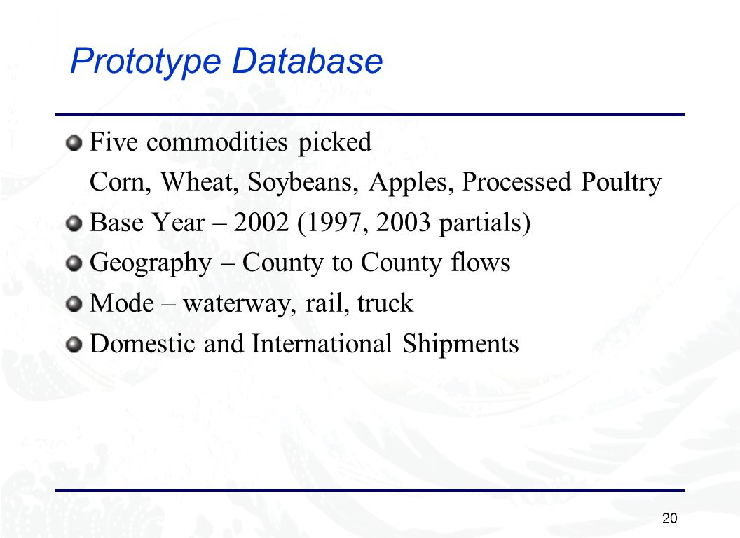 20 Prototype Database Five commodities picked Corn, Wheat, Soybeans, Apples, Processed Poultry Base Year – 2002 (1997, 2003 partials) Geography – County to County flows Mode – waterway, rail, truck Domestic and International Shipments