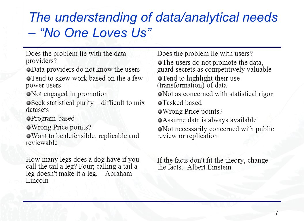 7 The understanding of data/analytical needs – No One Loves Us Does the problem lie with the data providers.