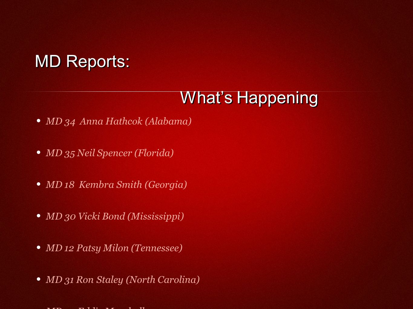 MD Reports: Whats Happening MD 34 Anna Hathcok (Alabama) MD 35 Neil Spencer (Florida) MD 18 Kembra Smith (Georgia) MD 30 Vicki Bond (Mississippi) MD 12 Patsy Milon (Tennessee) MD 31 Ron Staley (North Carolina) MD 32 Eddie Marshall