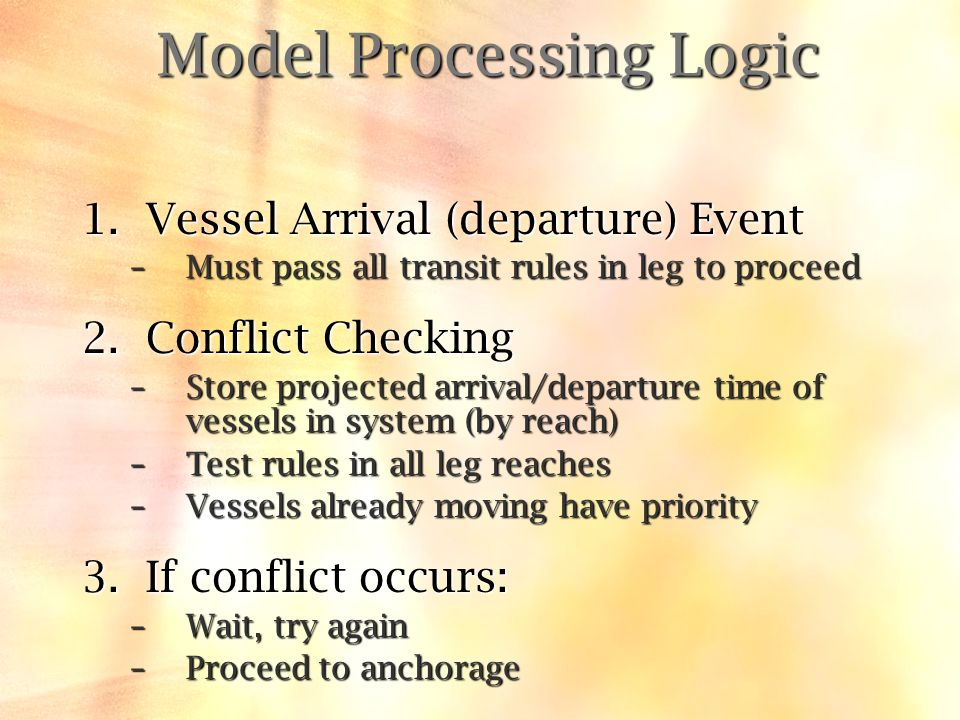 1.Vessel Arrival (departure) Event –Must pass all transit rules in leg to proceed 2.Conflict Checking –Store projected arrival/departure time of vessels in system (by reach) –Test rules in all leg reaches –Vessels already moving have priority 3.If conflict occurs: –Wait, try again –Proceed to anchorage Model Processing Logic