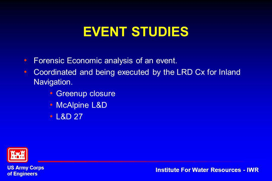 US Army Corps of Engineers Institute For Water Resources - IWR EVENT STUDIES Forensic Economic analysis of an event. Coordinated and being executed by