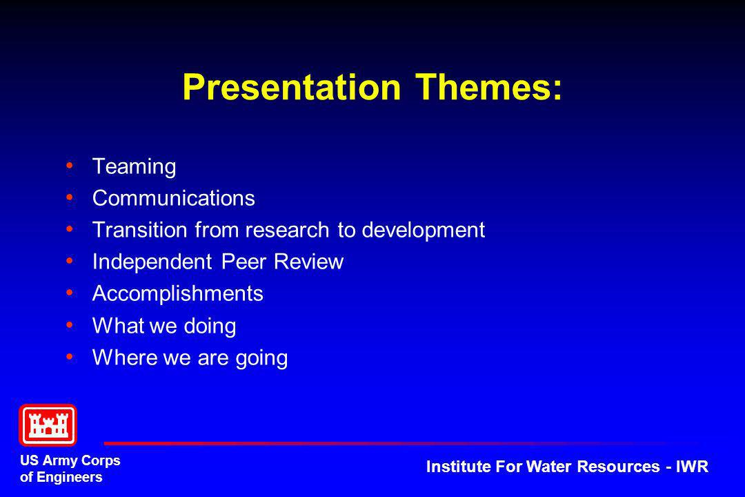 US Army Corps of Engineers Institute For Water Resources - IWR Program Management IWR – Keith Hofseth CXIN – Wes Walker CXDD – Ken Clasemen Technical Oversight Dr.