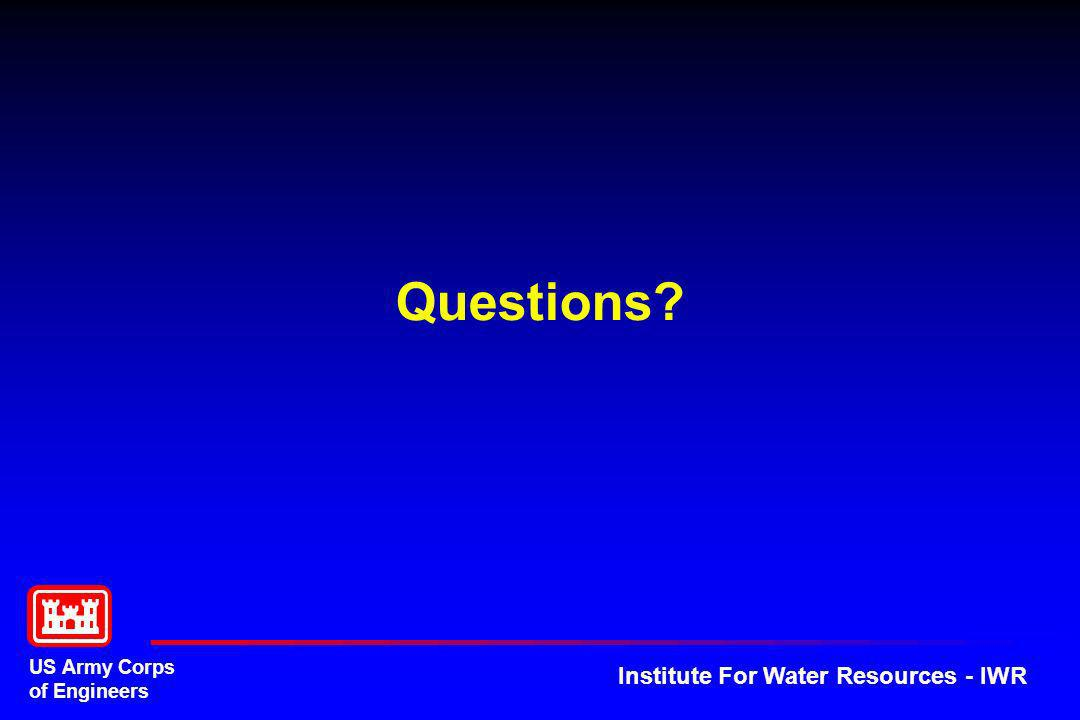 US Army Corps of Engineers Institute For Water Resources - IWR Questions?
