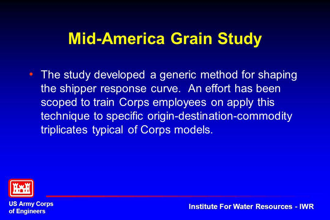 US Army Corps of Engineers Institute For Water Resources - IWR Next Generation WAM The work unit represents the amalgamation of IWR and LRD Cx waterway modeling efforts.