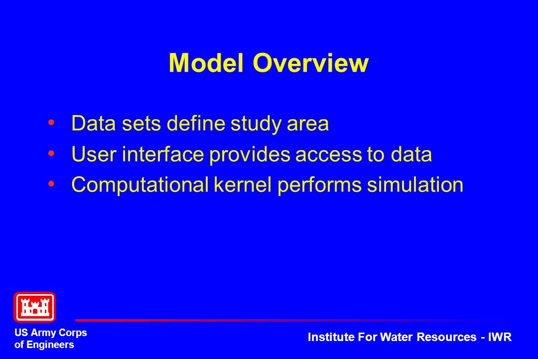US Army Corps of Engineers Institute For Water Resources - IWR Model Overview Data sets define study area User interface provides access to data Compu