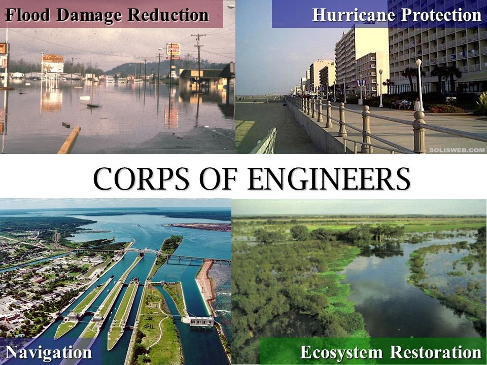 Flood Damage Reduction Navigation Ecosystem Restoration Hurricane Protection CORPS OF ENGINEERS