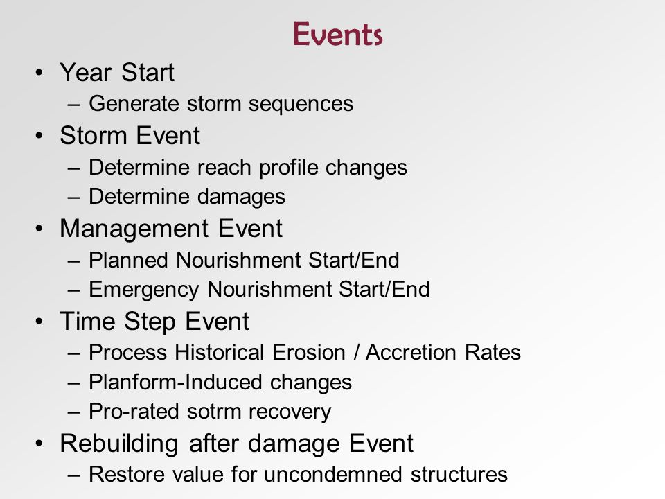 Events Year Start –Generate storm sequences Storm Event –Determine reach profile changes –Determine damages Management Event –Planned Nourishment Start/End –Emergency Nourishment Start/End Time Step Event –Process Historical Erosion / Accretion Rates –Planform-Induced changes –Pro-rated sotrm recovery Rebuilding after damage Event –Restore value for uncondemned structures