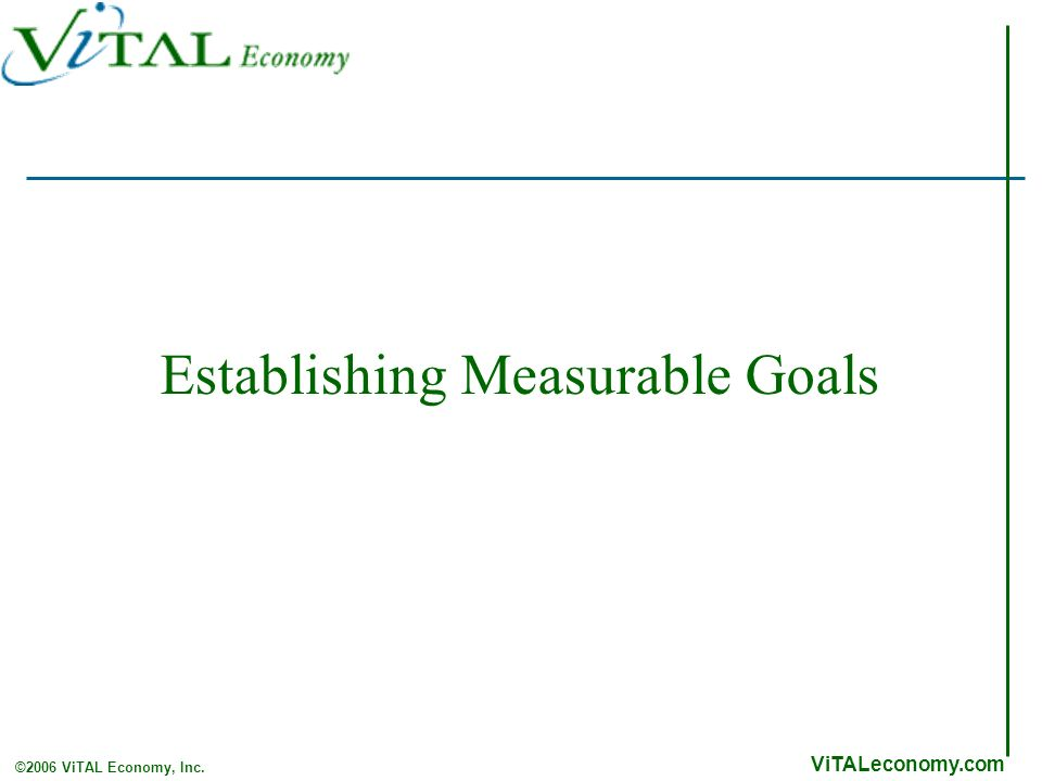 ViTALeconomy.com ©2006 ViTAL Economy, Inc. Establishing Measurable Goals