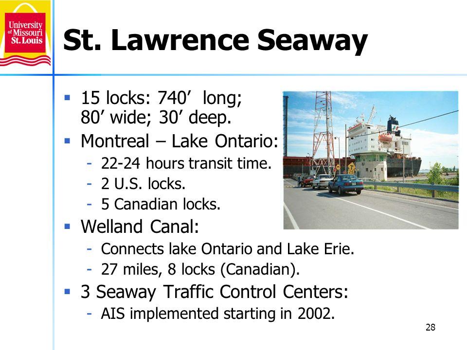 28 St. Lawrence Seaway 15 locks: 740 long; 80 wide; 30 deep. Montreal – Lake Ontario: -22-24 hours transit time. -2 U.S. locks. -5 Canadian locks. Wel
