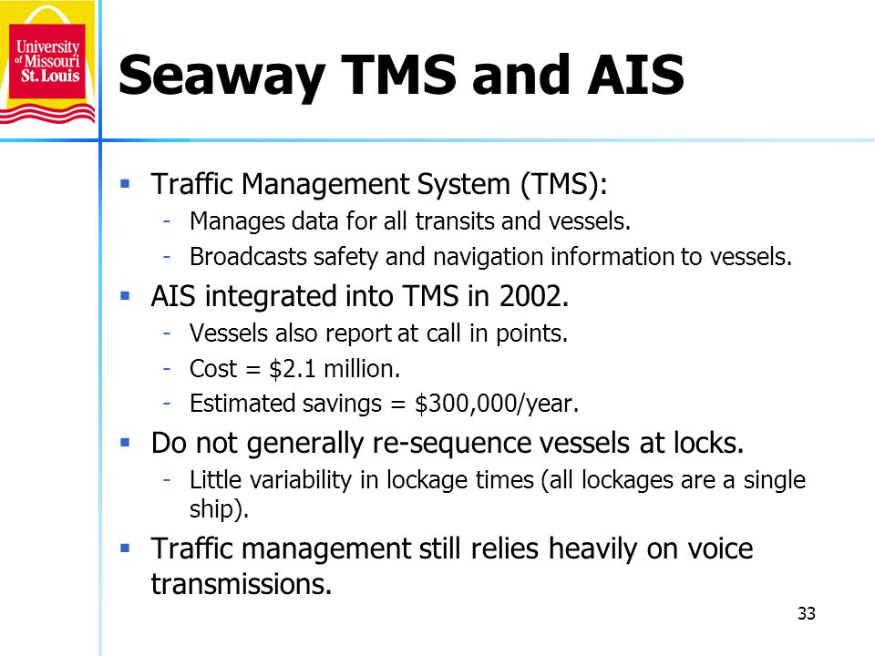 33 Seaway TMS and AIS Traffic Management System (TMS): -Manages data for all transits and vessels. -Broadcasts safety and navigation information to ve