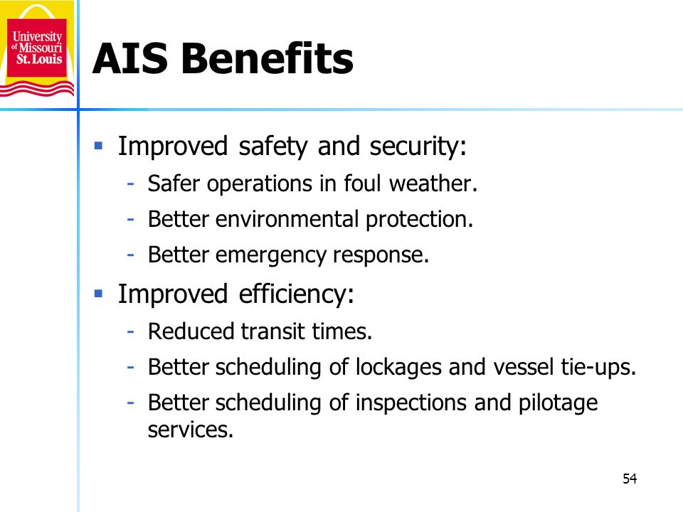 54 AIS Benefits Improved safety and security: -Safer operations in foul weather. -Better environmental protection. -Better emergency response. Improve