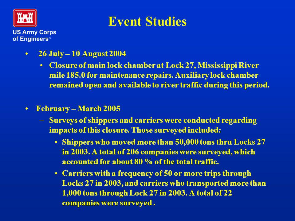 Event Studies 26 July – 10 August 2004 Closure of main lock chamber at Lock 27, Mississippi River mile 185.0 for maintenance repairs. Auxiliary lock c