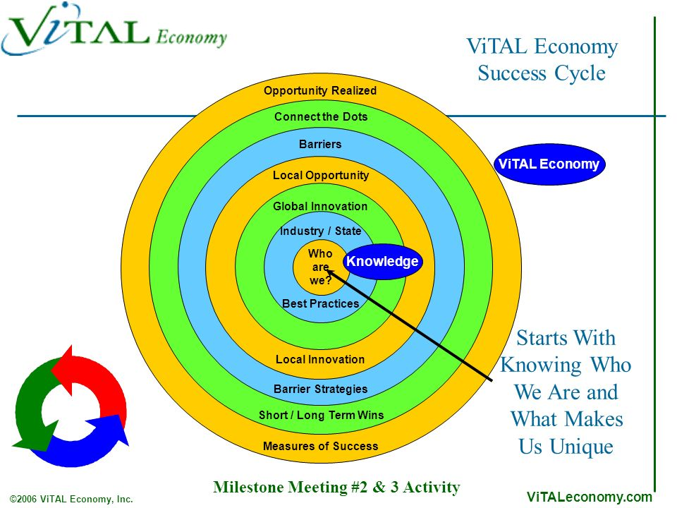 ViTALeconomy.com ©2006 ViTAL Economy, Inc. ViTAL Economy Success Cycle Starts With Knowing Who We Are and What Makes Us Unique ViTAL Economy Innovatio