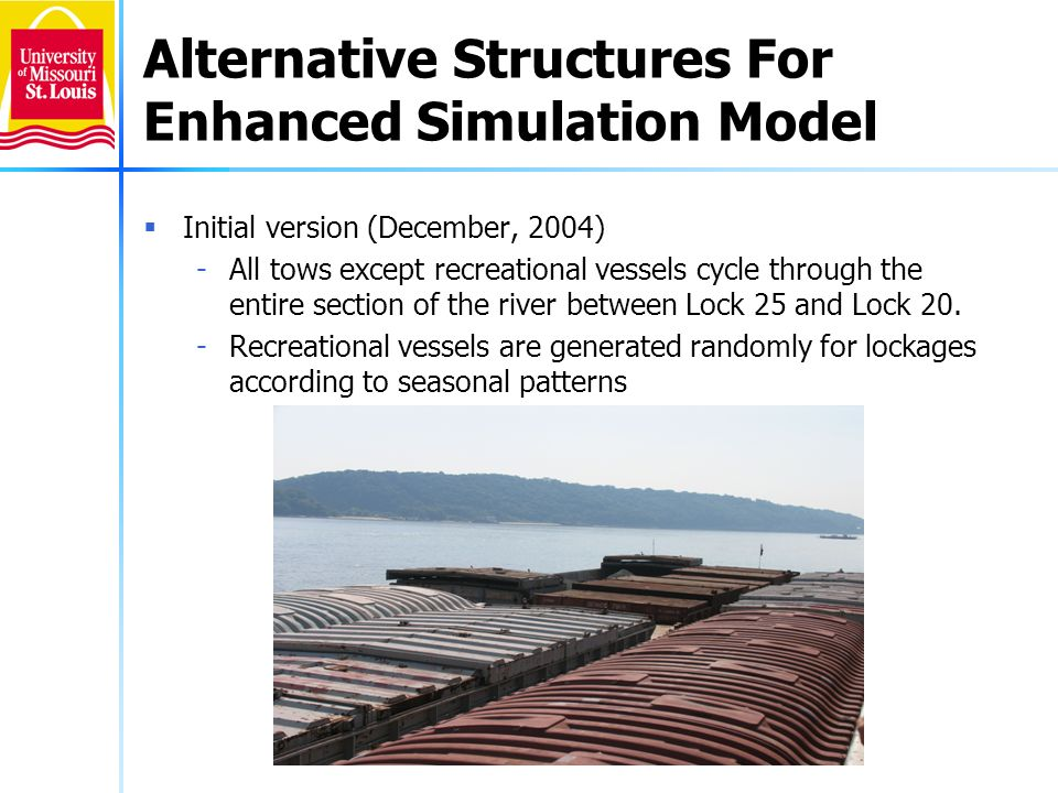 Alternative Structures For Enhanced Simulation Model (Continued) Enhancement Level 1 (June 2005) -Vessels enter the system northbound at Lock 25 randomly according to seasonal patterns and southbound at Lock 20 randomly according to seasonal patterns.