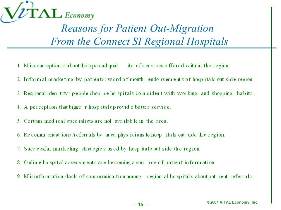 ©2007 ViTAL Economy, Inc. 15 Reasons for Patient Out-Migration From the Connect SI Regional Hospitals