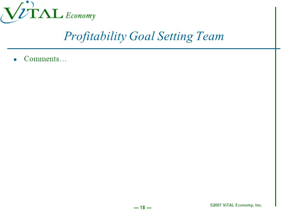 ©2007 ViTAL Economy, Inc. 18 Profitability Goal Setting Team Comments…