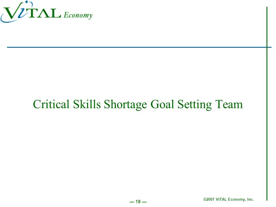 ©2007 ViTAL Economy, Inc. 19 Critical Skills Shortage Goal Setting Team