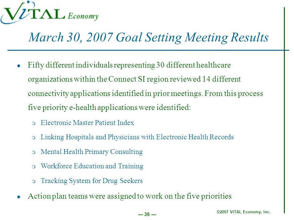 ©2007 ViTAL Economy, Inc. 36 March 30, 2007 Goal Setting Meeting Results Fifty different individuals representing 30 different healthcare organization