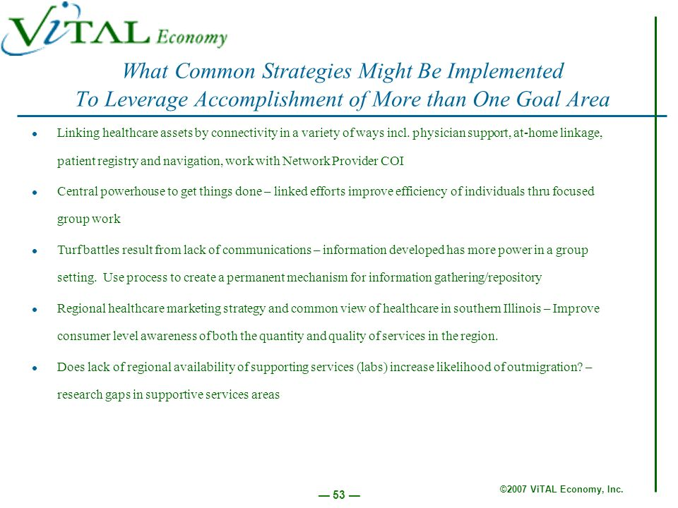 ©2007 ViTAL Economy, Inc. 53 What Common Strategies Might Be Implemented To Leverage Accomplishment of More than One Goal Area Linking healthcare asse