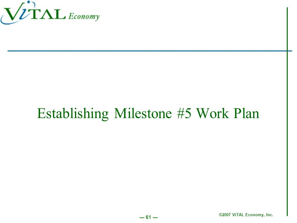 ©2007 ViTAL Economy, Inc. 61 Establishing Milestone #5 Work Plan