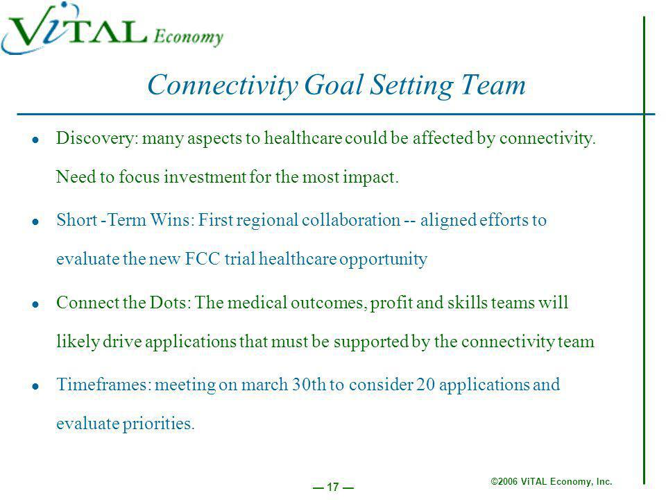 ©2006 ViTAL Economy, Inc. 17 Connectivity Goal Setting Team Discovery: many aspects to healthcare could be affected by connectivity. Need to focus inv