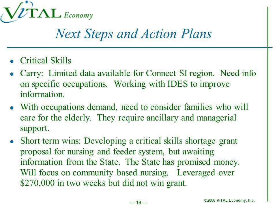 ©2006 ViTAL Economy, Inc. 19 Critical Skills Carry: Limited data available for Connect SI region.
