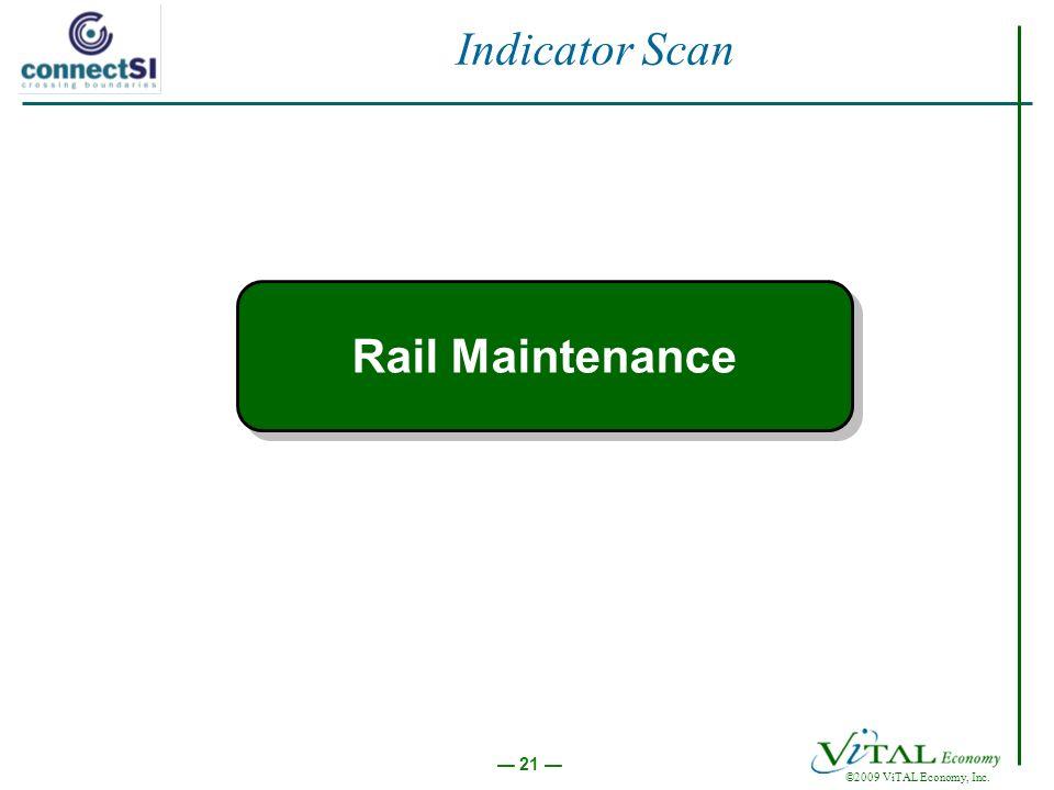 21 ©2009 ViTAL Economy, Inc. Indicator Scan Rail Maintenance