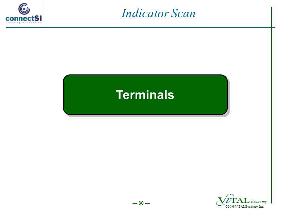 30 ©2009 ViTAL Economy, Inc. Indicator Scan Terminals