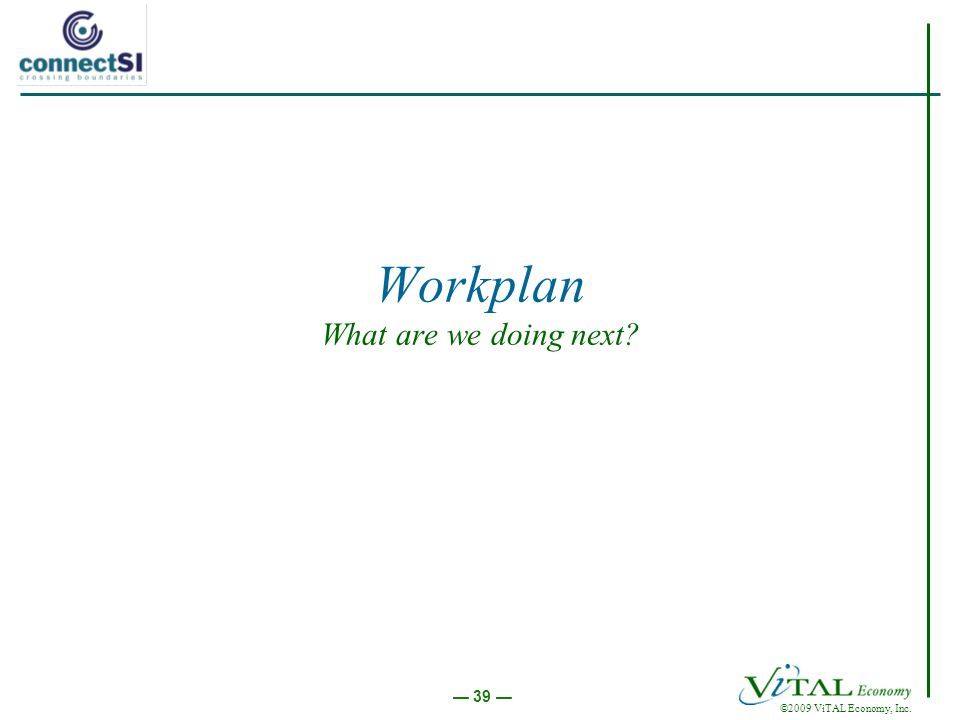 ©2009 ViTAL Economy, Inc. 39 Workplan What are we doing next?