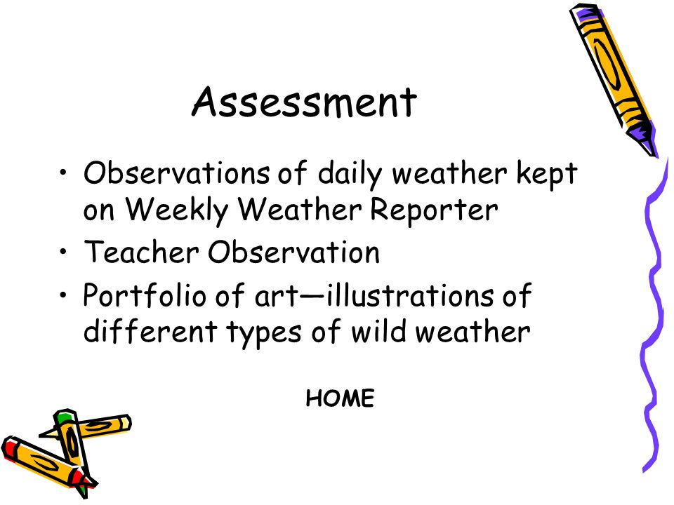 Assessment Observations of daily weather kept on Weekly Weather Reporter Teacher Observation Portfolio of artillustrations of different types of wild weather HOME