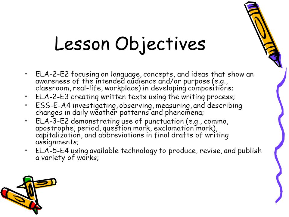 Lesson Objectives ELA-2-E2 focusing on language, concepts, and ideas that show an awareness of the intended audience and/or purpose (e.g., classroom,