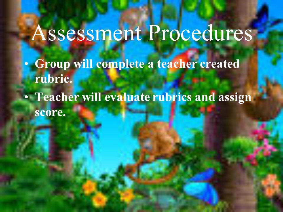 Assessment Procedures Group will complete a teacher created rubric.