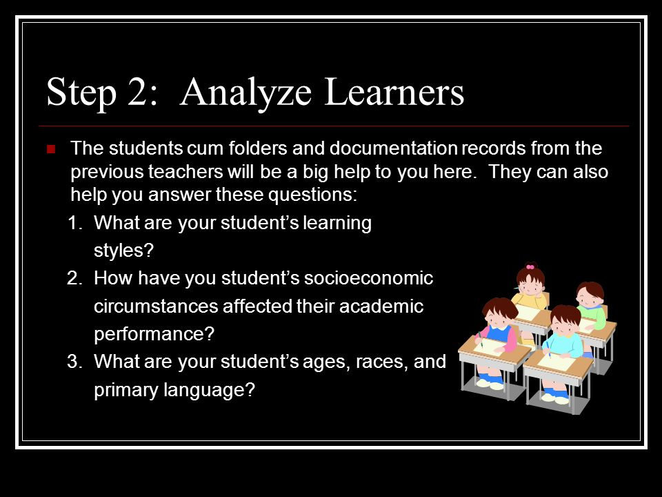 Step 2: Analyze Learners The students cum folders and documentation records from the previous teachers will be a big help to you here.